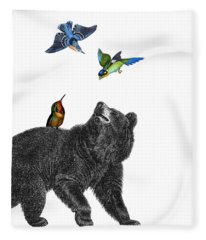 Bear With Birds Antique Illustration Fleece Blanket