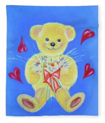 Bear With Flowers Fleece Blanket