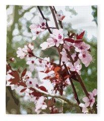 Beautiful Almond Blossoms Fleece Blanket