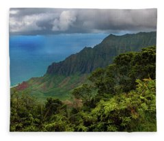 Beautiful And Illusive Kalalau Valley Fleece Blanket