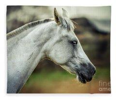 Equine Portrait White Horse Head Fleece Blanket