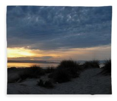Beautiful Beach San Dunes Sunset And Clouds Fleece Blanket