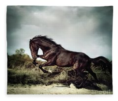 Beautiful Black Stallion Horse Running On The Stormy Sky Fleece Blanket