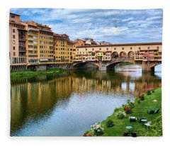 Ponte Vecchio On A Spring Day In Florence, Italy Fleece Blanket
