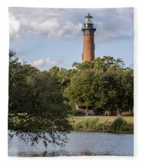Beautiful Day At Currituck Beach Lighthouse Fleece Blanket