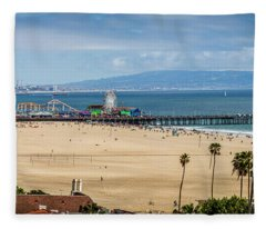 Beautiful Day At The Pier - Panorama Fleece Blanket