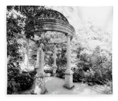 Beautiful Gazebo In Black And White Fleece Blanket