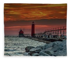 Sunset At Grand Haven Pier Fleece Blanket