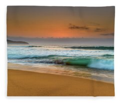 Beautiful Hazy Sunrise Seascape  Fleece Blanket