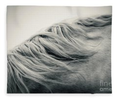 Beautiful Lonely White Horse Fleece Blanket