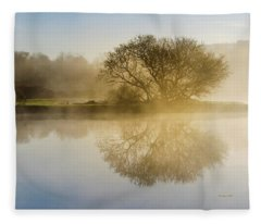 Fleece Blanket featuring the photograph Beautiful Misty River Sunrise by Christina Rollo