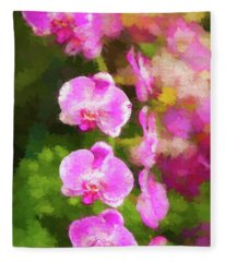 Beautiful Orchids Fleece Blanket