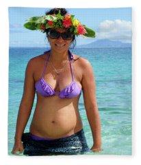Beautiful Polynesian Woman With Floral Hat Fleece Blanket