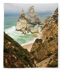 Beautiful Praia Da Ursa In Portugal Fleece Blanket