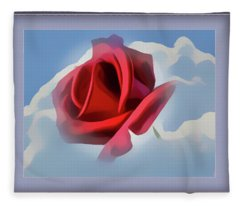Beautiful Red Rose Cuddled By Cumulus Fleece Blanket