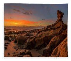 Fleece Blanket featuring the photograph Beautiful Rocky Tindakon Beach Sunset View In Kudat Malaysia by Pradeep Raja PRINTS
