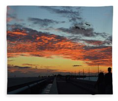 Beautiful Romantic Sunset On A Bridge Islamorada Florida   Fleece Blanket