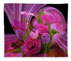 Beautiful Rose Bouquet Montage Fleece Blanket