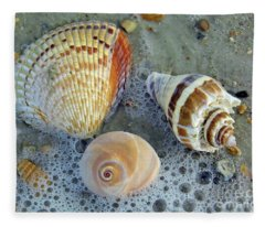 Beautiful Shells In The Surf Fleece Blanket