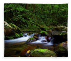 Beautiful Stream In Tremont Smoky Mountains Tennessee Fleece Blanket