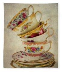 Beautiful Tea Cups Fleece Blanket