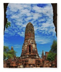 Beautiful Wat Phra Ram Temple In Ayutthaya, Thailand  Fleece Blanket