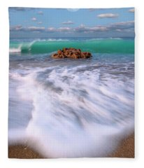 Beautiful Waves Under Full Moon At Coral Cove Beach In Jupiter, Florida Fleece Blanket