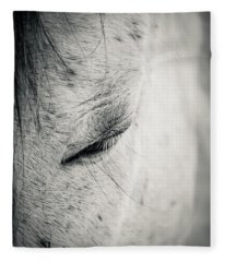 Beautiful White Horse With Closed Eyes Fleece Blanket