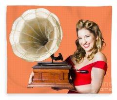 Beautiful Woman With Gramophone Isolated On White Fleece Blanket