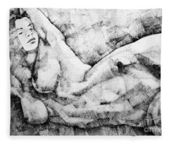 Beautiful Young Girl Pencil Art Drawing Fleece Blanket