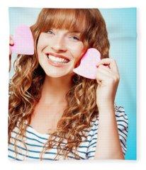 Beautiful Young Woman In A Love Heart Romance Fleece Blanket