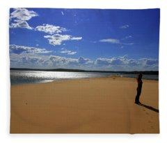Beauty Footprints Water Sand And Wind  Fleece Blanket