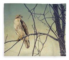 Red-tailed Hawk On Watch Fleece Blanket