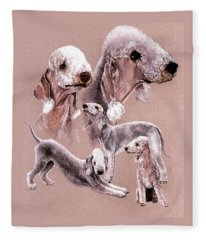 Fleece Blanket featuring the drawing Bedlington Terrier by Barbara Keith