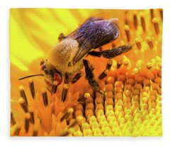 Bee And Sunflower Fleece Blanket