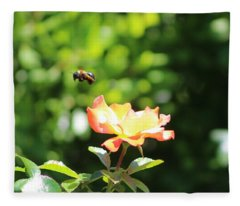Bee Flying From Peach Petal Rose Fleece Blanket