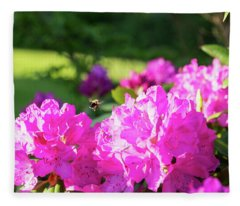 Bee Flying Over Catawba Rhododendron Fleece Blanket