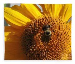 Bee In Flower Fleece Blanket