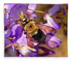 Bee In Spring Fleece Blanket
