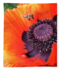 Bee Is Visiting A Poppy Fleece Blanket