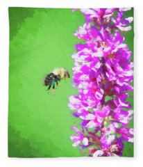 Bee Kissing A Flower Fleece Blanket