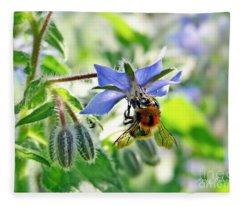 Bee On Borage Fleece Blanket