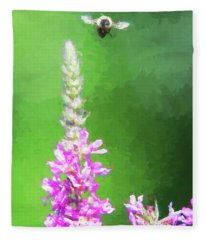 Bee Over Flowers Fleece Blanket