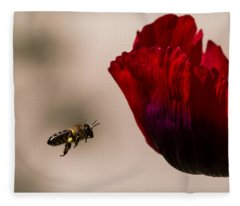 Bee Right Profile Flying To Red Flower Fleece Blanket