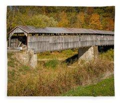Beech Fork Or Mooresville Covered Bridge Fleece Blanket