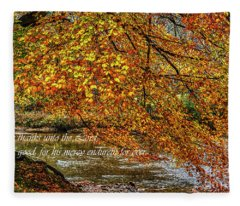 Beech Tree And Holly River In Autumn Fleece Blanket