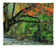 Beech Tree And Swinging Bridge Fleece Blanket