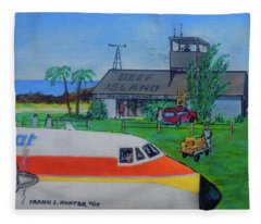 Beef Island Airport In The British Virgin Islands Fleece Blanket
