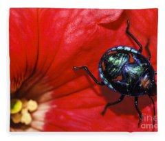 Beetle On A Hibiscus Flower. Fleece Blanket