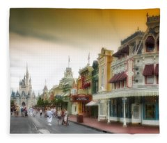 Before The Gates Open Magic Kingdom With Castle Fleece Blanket